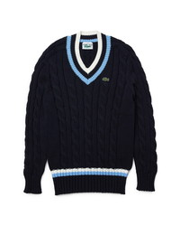 Lacoste Cable V Neck Sweater