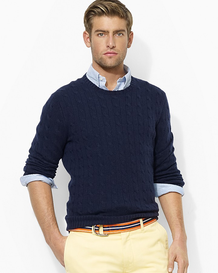 Polo Ralph Lauren Cabled Cashmere Crewneck | Where to buy & how to ...