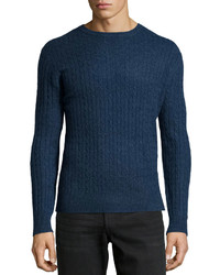 Neiman Marcus Cashmere Cable Knit Pullover Sweater Navy