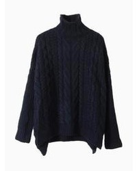 Choies Navy Cable Roll Neck Jumper