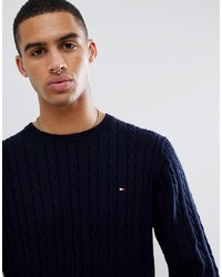 Tommy Hilfiger Classic Cotton Cable Knit Crewneck Jumper Flag Logo In Navy Marl