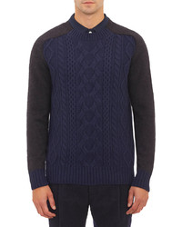 Sacai Contrast Sleeve Cable Knit Pullover Sweater