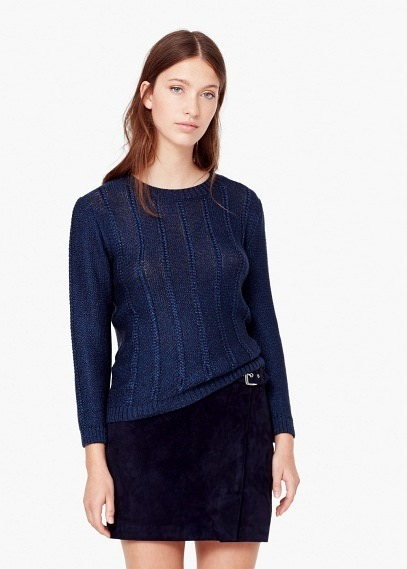 new york famous brand buy Mango Outlet Contrasting Knit Sweater, $59   Mango   Lookastic.com