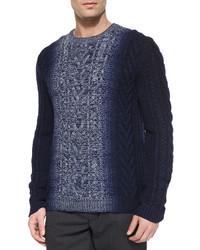 Vince Degrade Cable Knit Crewneck Sweater Blue