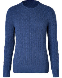 Ralph Lauren Blue Label Federal Heather Blue Cashmere Classic Cable Pullover
