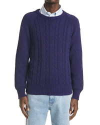 Gucci Gg Embroidered Cable Cotton Sweater