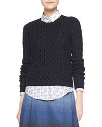 RED Valentino Long Sleeve Velvet Cable Sweater