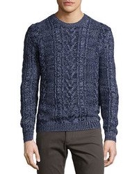 Vince Marled Cable Knit Crewneck Sweater Navy