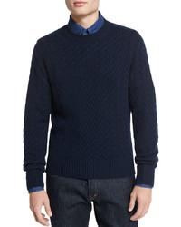 Tom Ford Melange Cable Knit Crewneck Sweater Navy