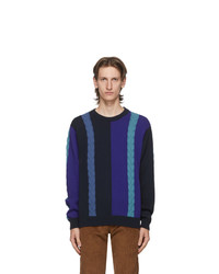 Ps By Paul Smith Navy Colorblock Crewneck Sweater