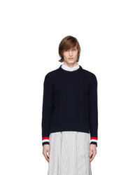 Thom Browne Navy Merino Aran Cable Sweater