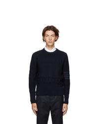 Thom Browne Navy Wool Aran Cable 4 Bar Sweater