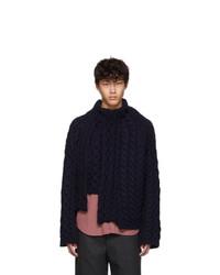 Lanvin Navy Wool Asymmetric Sweater