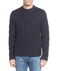 Regular fit cable knit crewneck wool blend sweater medium 365417