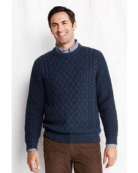Lands' End Regular Meridian Aran Cable Crewneck Sweater