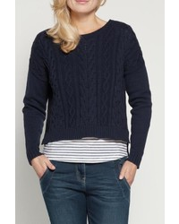 Sandwich Cropped Cable Sweater