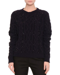 Valentino Sequined Cable Knit Sweater Navyblack