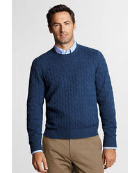 Lands' End Tall Meridian Cotton Wool Cable Crew Sweater
