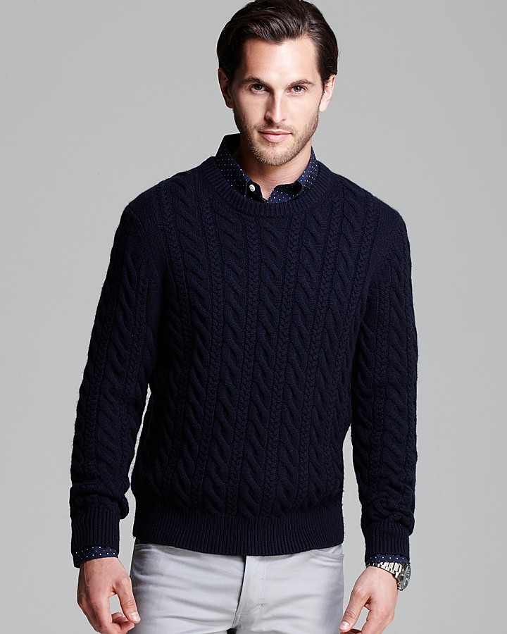 Bloomingdale's The Store At Double Cable Knit Crewneck Sweater ...