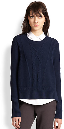The Kooples Wool Cashmere Slouched Cable Knit Sweater Where To Buy