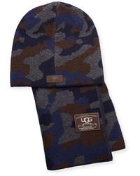UGG Camouflage Wool Blend Scarf Beanie Hat Set