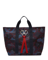 Navy Camouflage Canvas Tote Bag