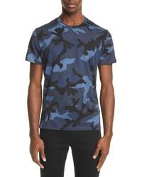 Valentino Camo Print Crewneck T Shirt