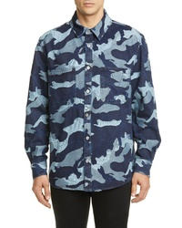 Valentino Camo Slim Fit Jacquard Denim Shirt