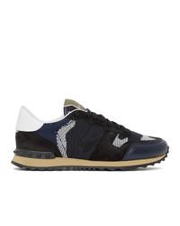 Valentino Navy And Black Garavani Rockrunner Sneakers