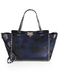 Valentino Camouflage Rockstud Leather Canvas Tote