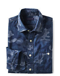 Classic Tailored Fit Camo Chambray Shirt Bluered Stripexl