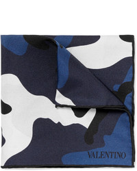 Valentino Double Sided Camouflage Print Silk Twill Pocket Square