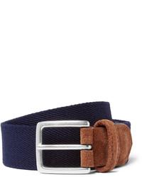 Andersons 35cm blue suede trimmed canvas belt medium 1138729
