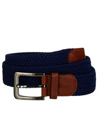Luxury Divas Navy Blue Gunmetal Buckle Leather Tip Braided Belt