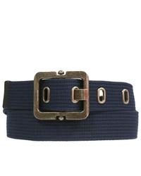 Luxury Divas Navy Blue Heavy Web Canvas Belt Wpewter Buckle