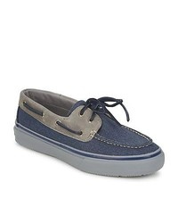 Sperry Top-Sider Bahama 2 Eye Heavy Canvas Navy Grey Boat Shoes