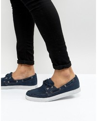 Armani Jeans Washed Canvas Boat Shoes In Navy