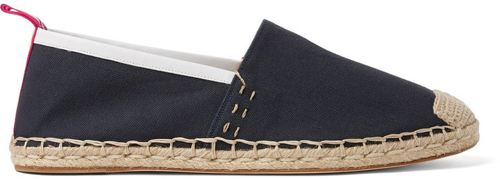 Acne Studios Jose Grosgrain And Leather Trimmed Canvas Espadrilles