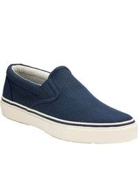 Sperry Top-Sider Striper Slip On Blue Canvas Canvas Shoes