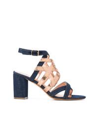 Metallic strap denim sandals medium 7327499