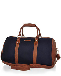 River Island Navy Brown Trim Holdall