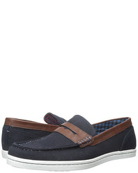 Navy Canvas Loafers