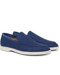 Loro Piana Summer Walk Suede Trimmed Linen Loafers