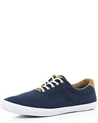 River Island Navy Canvas Lace Up Plimsolls
