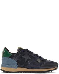 Valentino Navy Garavani Star Rockrunner Sneakers
