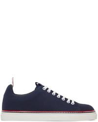 Thom Browne Navy Stripe Tennis Sneakers