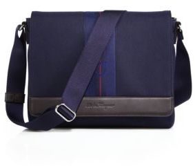 Salvatore Ferragamo Manderson Canvas Leather Messenger Bag