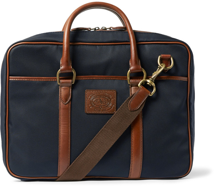 ... Navy Canvas Messenger Bags Polo Ralph Lauren Polo Ralph Lauren Leather-Trimmed  Canvas Bag