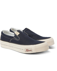 VISVIM Skagway Leather Trimmed Canvas Slip On Sneakers