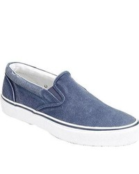 Sperry Top-Sider Striper Slip On Navy Canvas Shoes